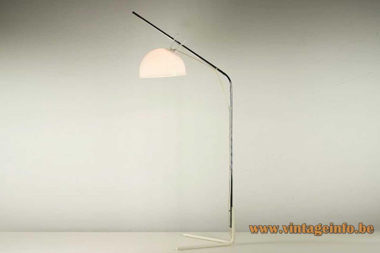 Tramo acrylic arc floor lamp design: Joan Blanc fork base chrome rod white lampshade 1970s Spain