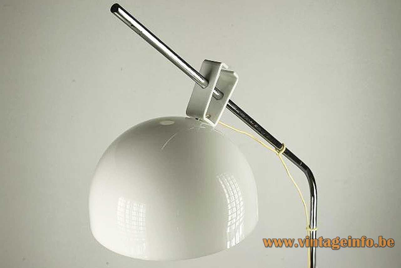 Tramo acrylic arc floor lamp design: Joan Antoni Blanc white plastic lampshade 1970s Spain