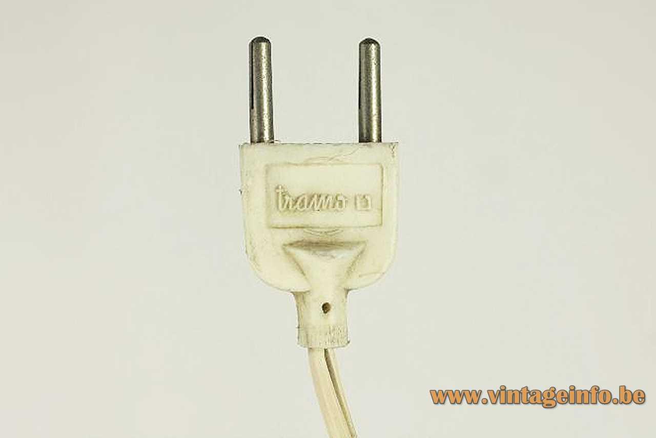 Tramo acrylic arc floor lamp design: Joan Antoni Blanc white plastic plug & logo 1970s Spain