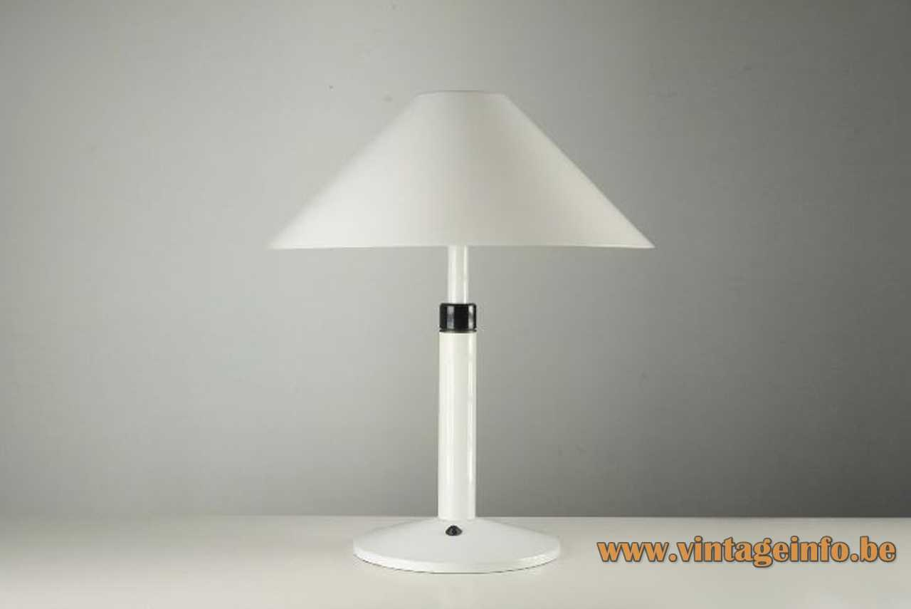 Tramo conical table lamp round base rod & lampshade chrome ring 2 Bakelite sockets 1970s Barcelona Spain