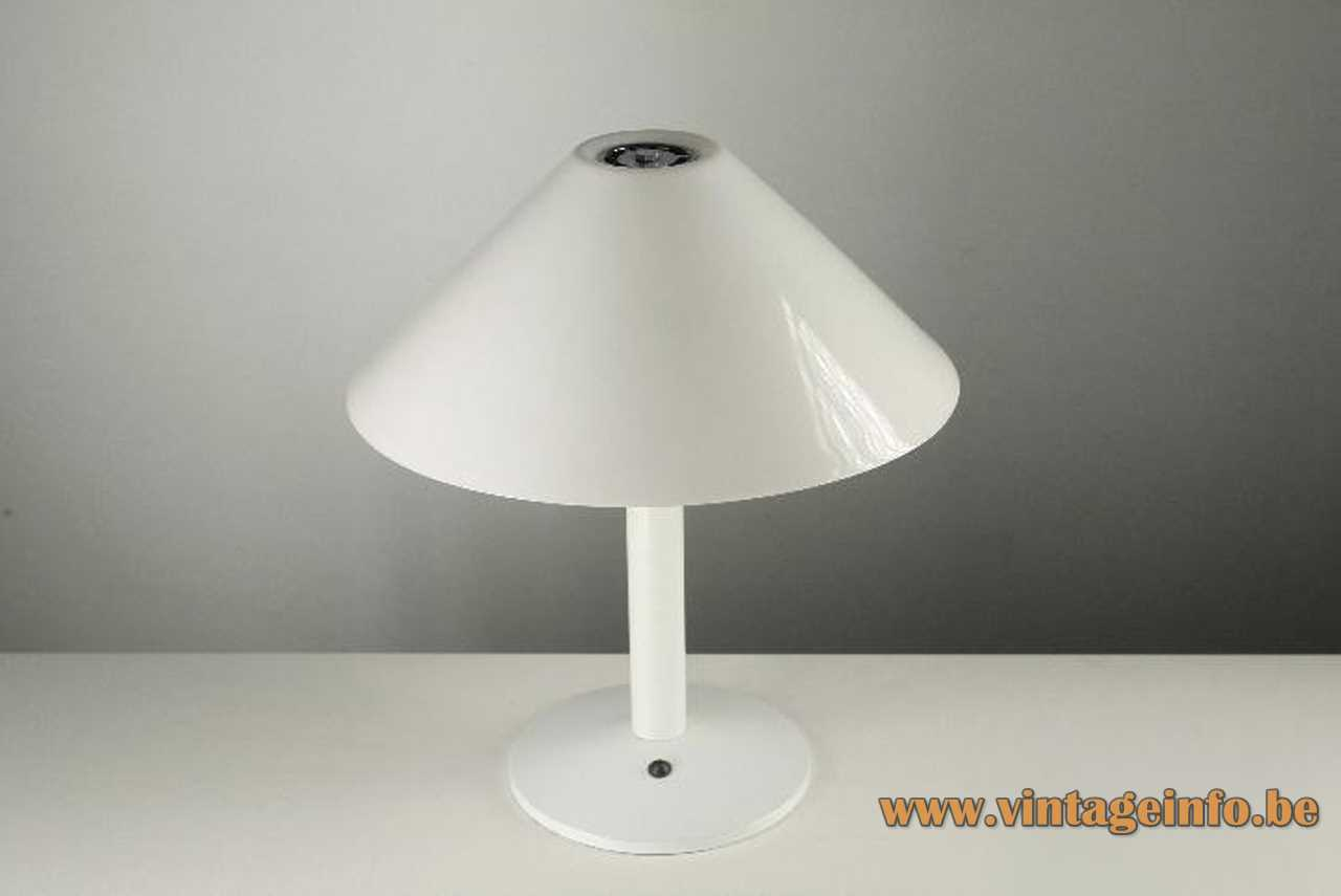 White table lamp with a round base and a conical lampshade and chrome 2 Bakelite sockets Barcelona