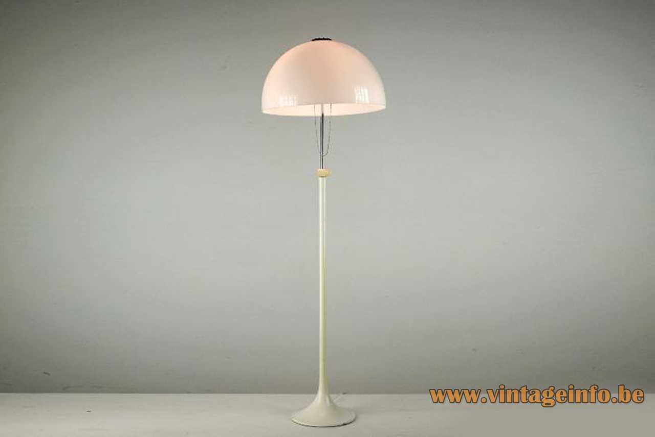 Tramo mushroom floor lamp design: Joan Antoni Blanc white base & rod acrylic lampshade 1960s Barcelona Spain