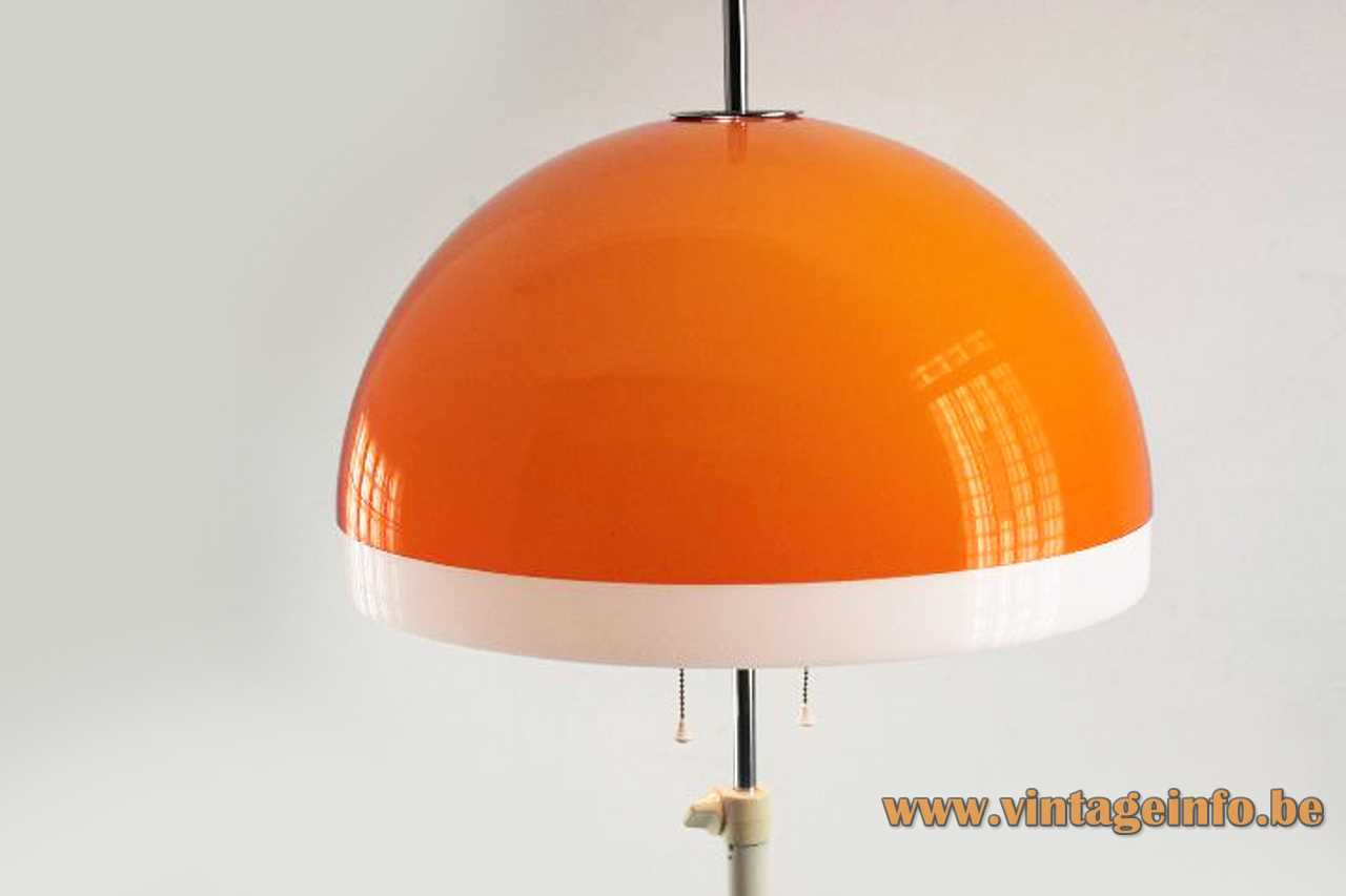 Tramo orange acrylic floor lamp design: Joan Antoni Blanc white base & rod Perspex mushroom lampshade 1960s