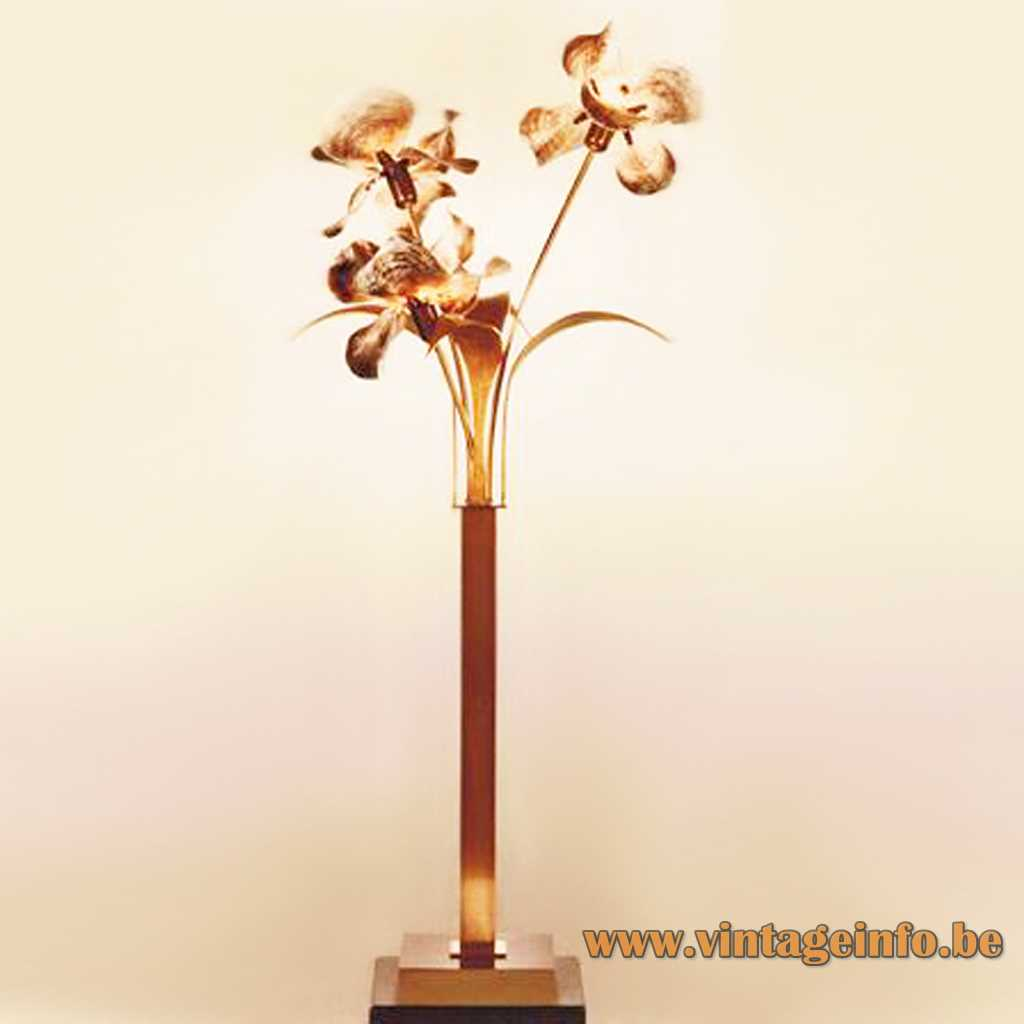 Square brass base & rod bronze leaves 3 flowers made of Capiz mother of pearl shells E27 sockets