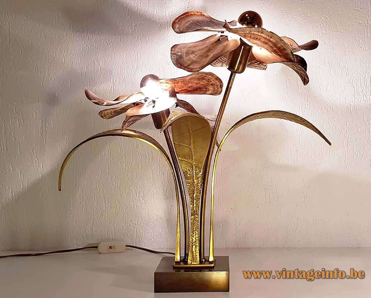 Willy Daro flower table lamp square brass base bronze leaves pink oyster shell 1970s design Belgium