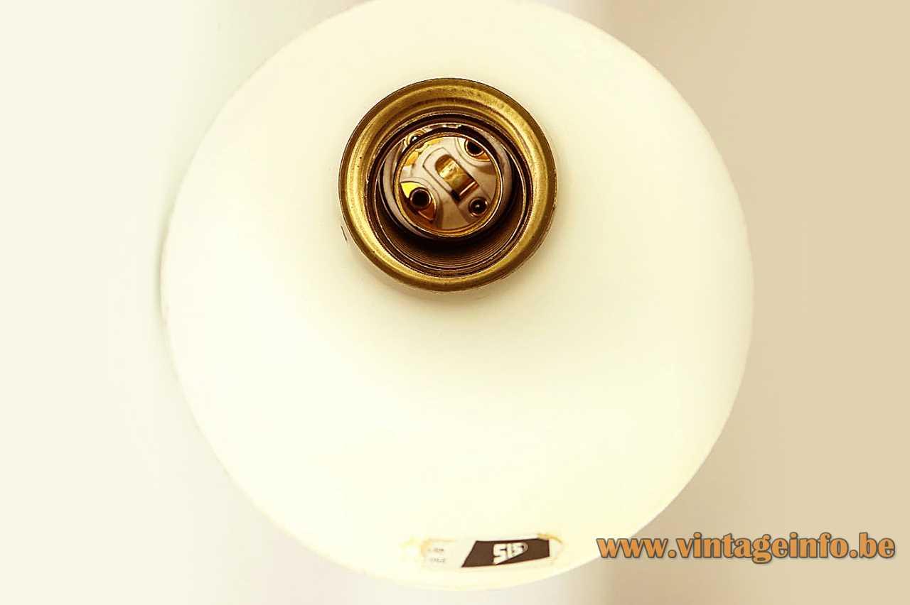 1950s diabolo scissor wall lamp aluminium lampshade cream colour brass rod E14 socket yo-yo