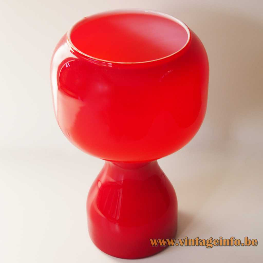 1970s Tahiti table lamp red glass light design Jean-Paul Emonds-Alt Philips Massive Belgium E27 socket