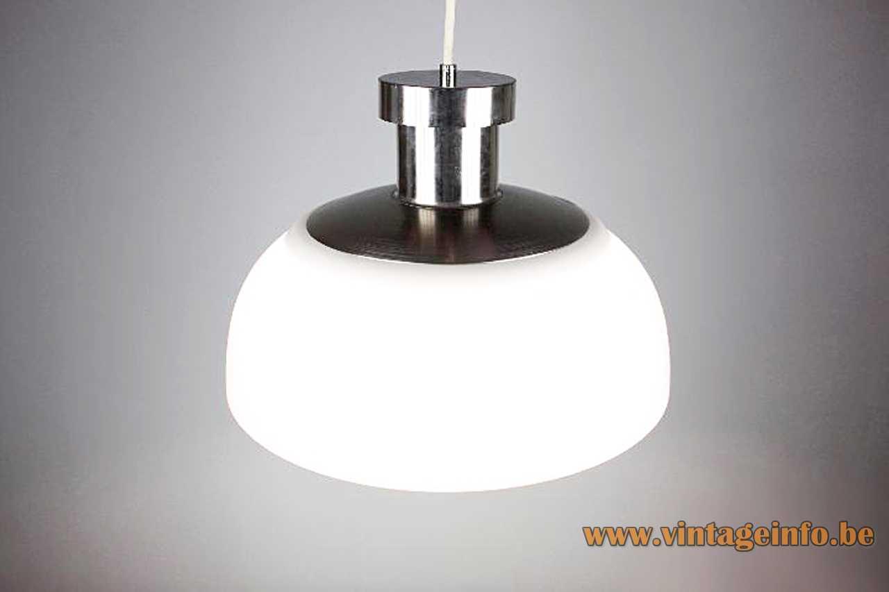Achille Castiglioni KD7 Kartell pendant lamp 1958 design white acrylic lampshade nickel-plated lid 1960s Venini Italy