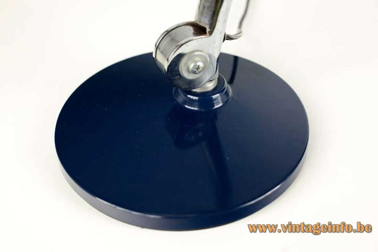 Blue Fase Faro desk lamp round metal base adjustable chrome rod round lampshade 1970s Spain