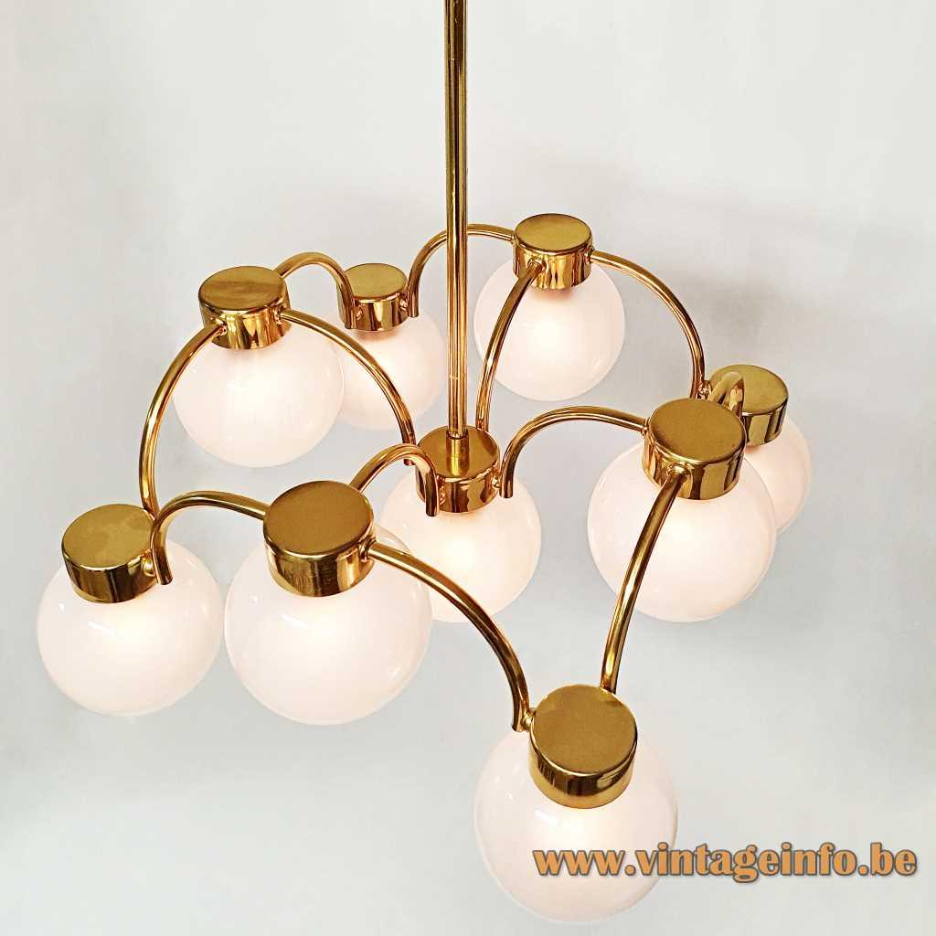 Boulanger opal globes chandelier curved brass rods 9 misty glass spheres 1970s Belgium 9 E14 sockets