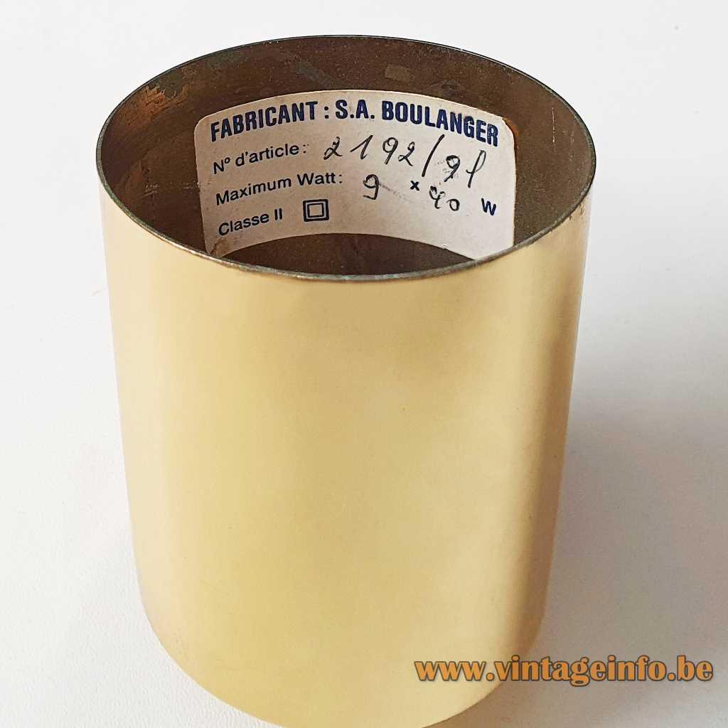 Boulanger opal globes chandelier round brass canopy S.A. Boulanger label 1970s Belgium