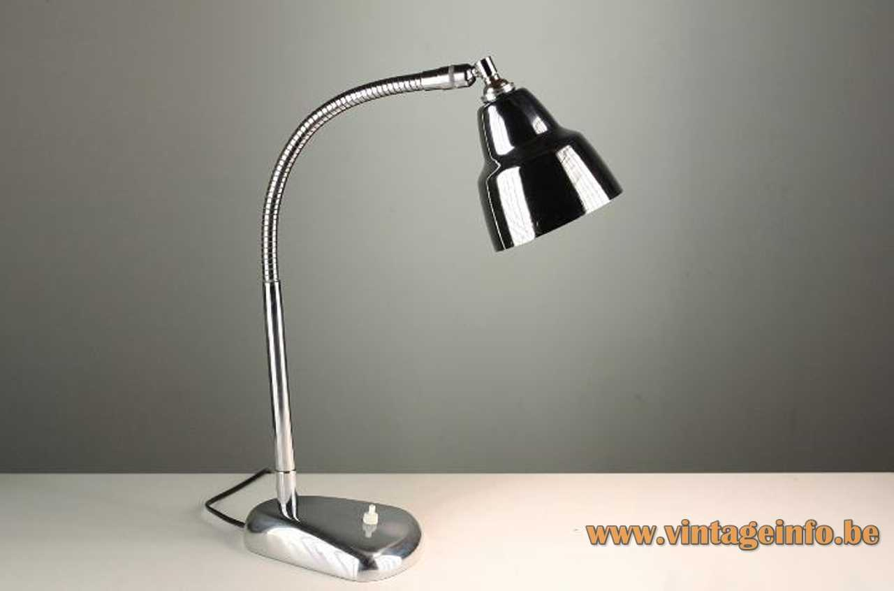Chrome Jumo desk lamp design: André Mounique goose-neck conical round lampshade E27 socket 1950s 1960s France
