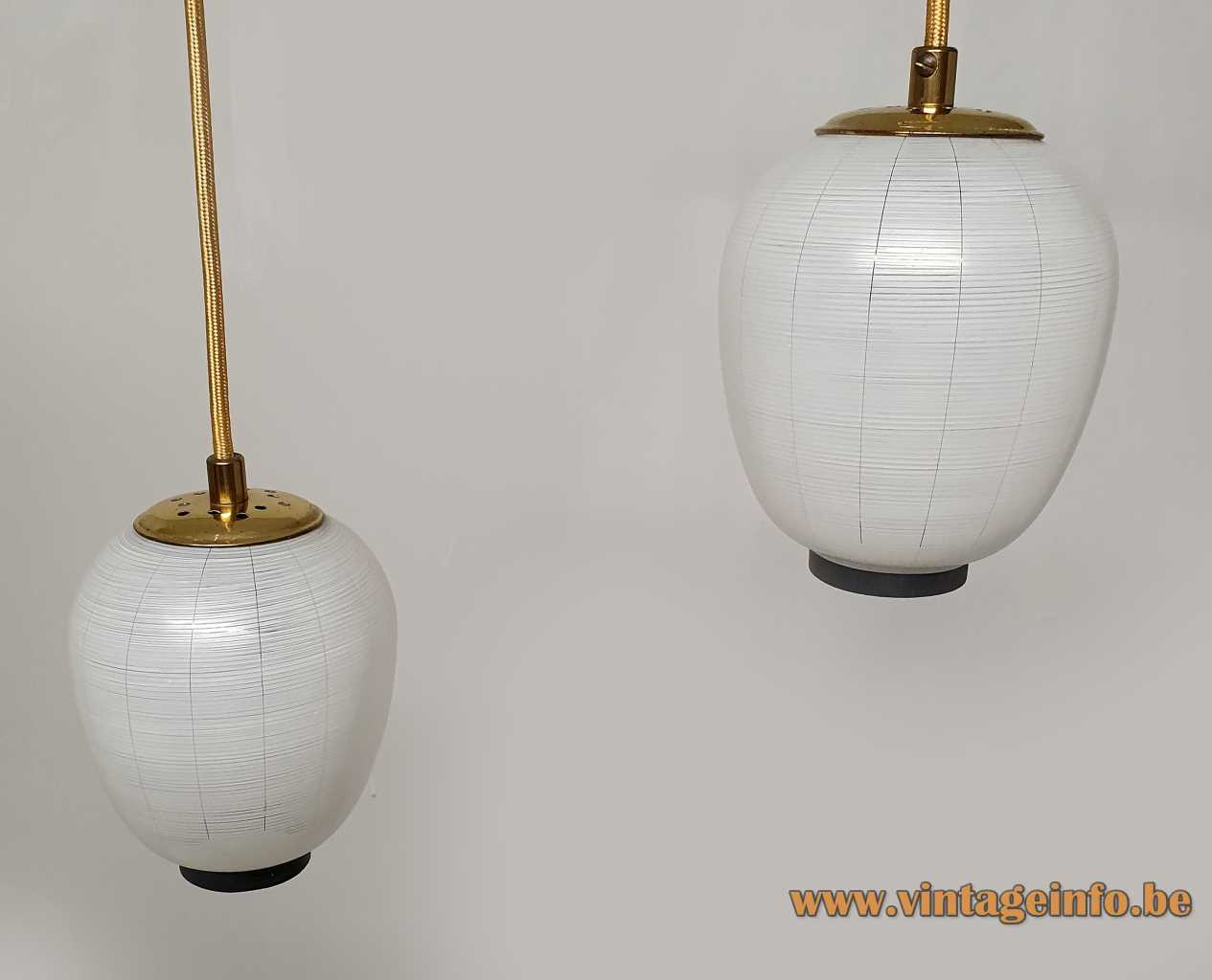 DORIA Mikado pendant chandelier made of two striped glass lampion lampshades brass rod 2 E14 sockets
