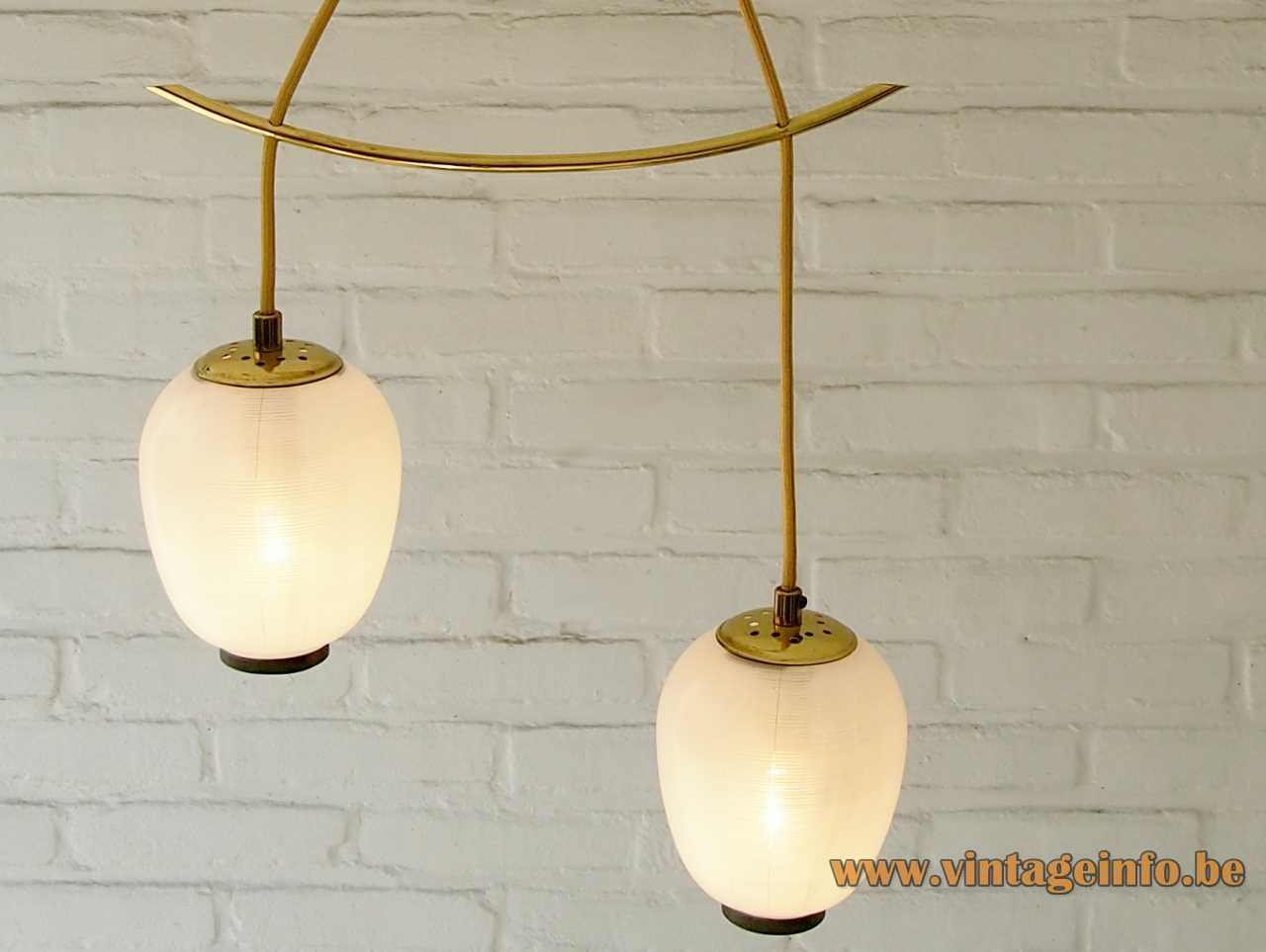 DORIA Mikado pendant chandelier 2 striped glass lampion lampshades curved brass rod 1950s 1960s Germany