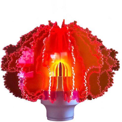 Ennio Lucini Cespuglio table lamp 1969 Design House aluminium base 16 radial red acrylic slats Italy