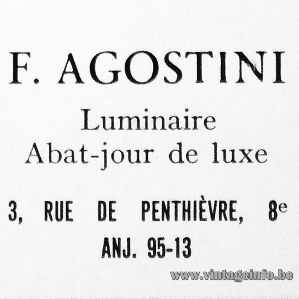F. Agostini Luminaires Paris France logo