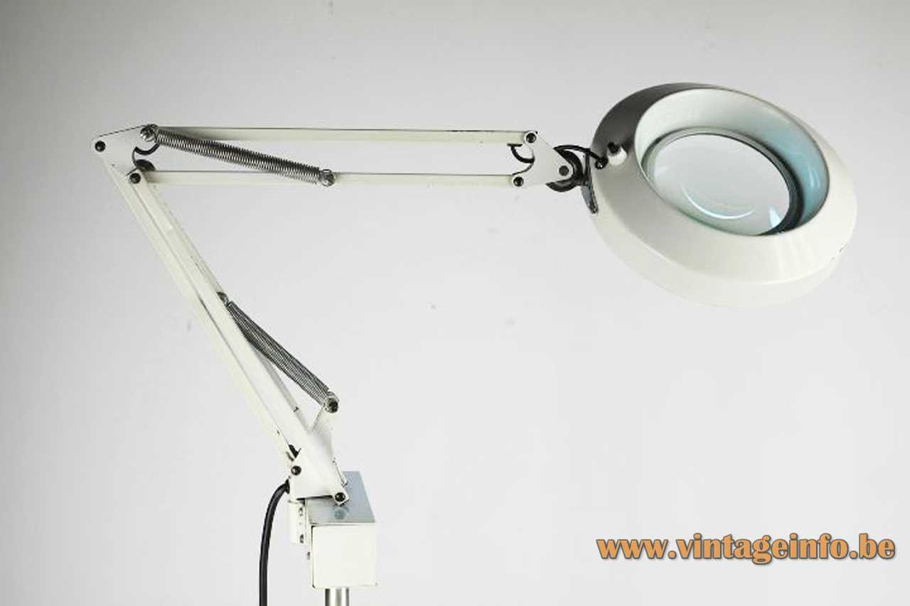 Fase Lupa floor lamp white tripod base adjustable rods round magnifying glass 1970s Spain