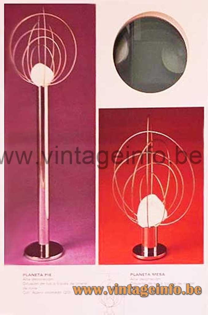 Fase Planeta table & floor lamp, 1976-1977 Fase catalogue, 1974 design Angelo Brotto