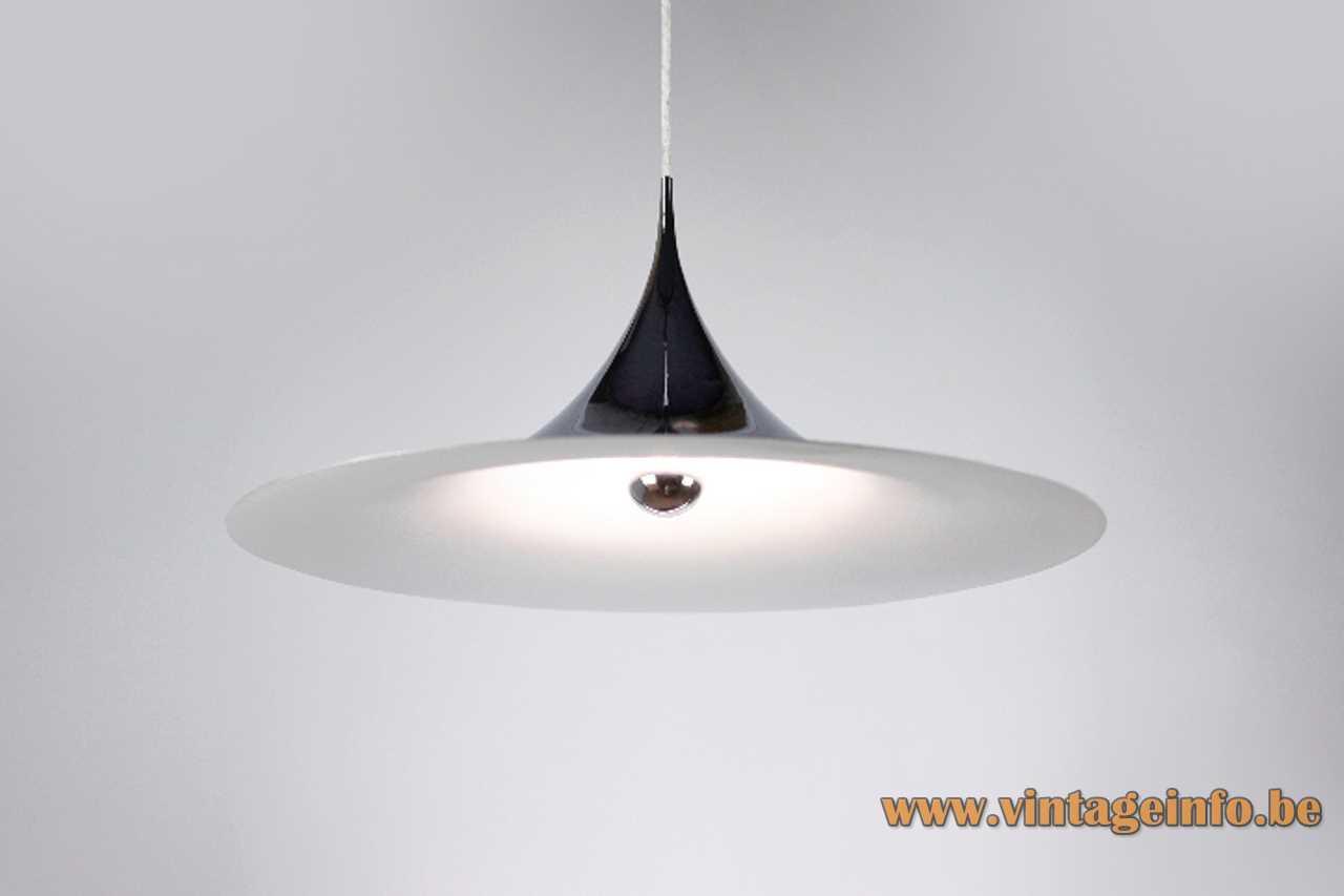 Fog & Mørup Semi Maxi pendant lamp big witch hat chrome lampshade design 1960s 1970s Denmark