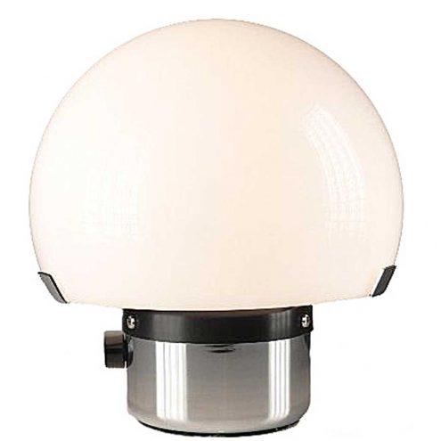 Gaetano Sciolari Metalarte table lamp chrome round base white acrylic mushroom lampshade black dimmer 1970s Spain