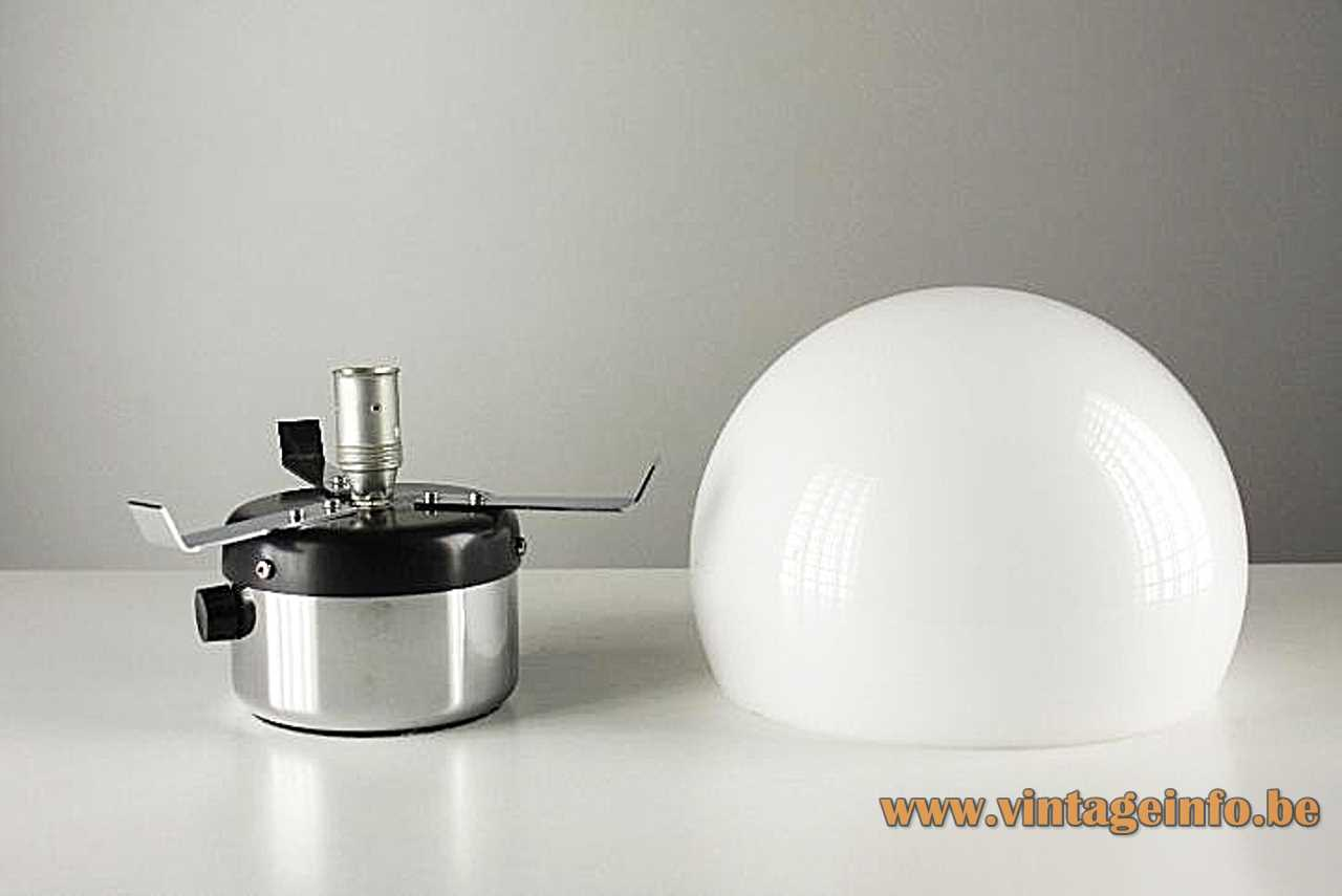 Gaetano Sciolari Metalarte table lamp chrome round base white acrylic mushroom lampshade black dimmer 1970s Spain