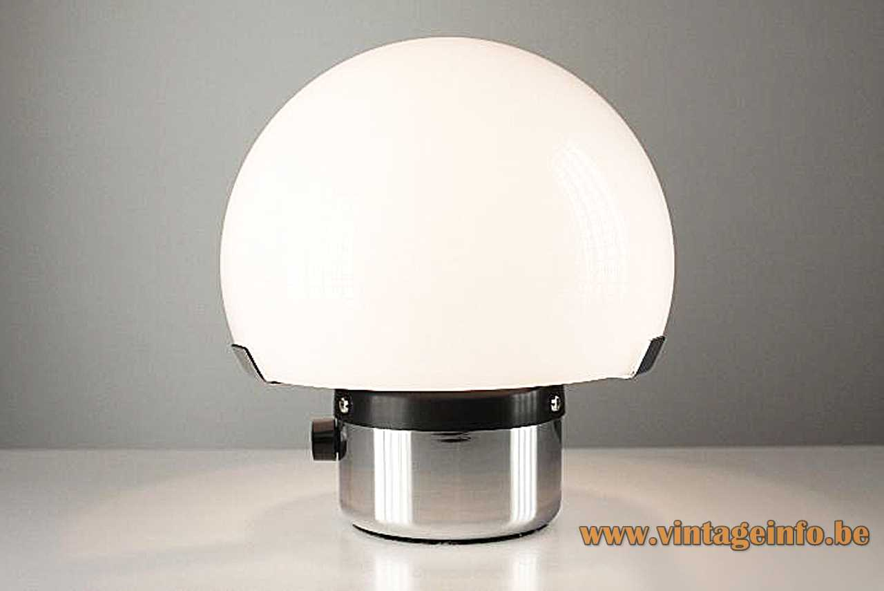Gaetano Sciolari Metalarte table lamp chrome round base white acrylic mushroom lampshade black dimmer 1970s Spainround table lamp with an opal white acrylic Perspex mushroom lampshade + dimmer E14 socket