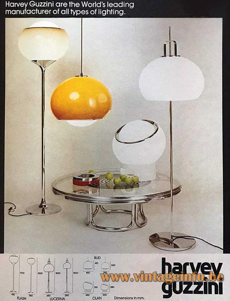 Harvey Guzzini Lucerna, Flash and Clan floor lamp, Bud pendant lamp - 1972 Catalogue Picture