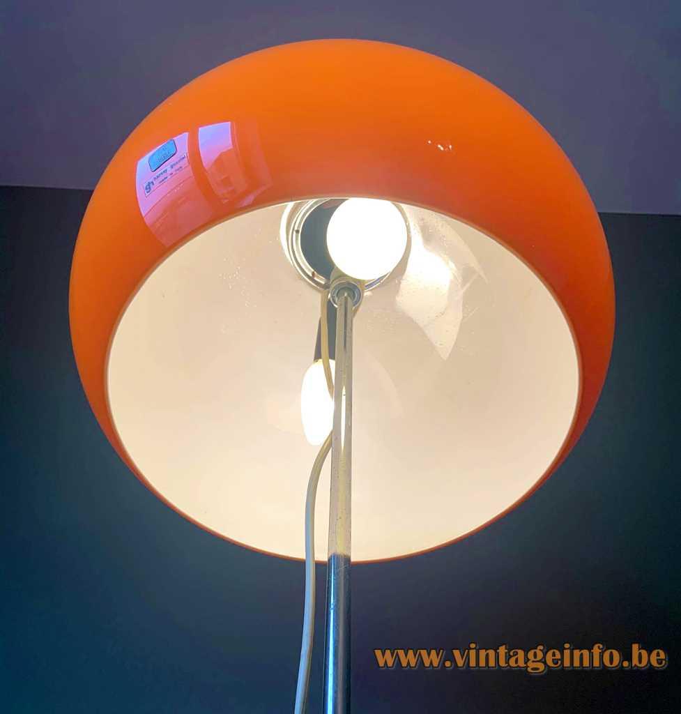 Harvey Guzzini Lucerna floor lamp 1966 design chrome base & rod orange acrylic lampshade 1960s 1970s Italy
