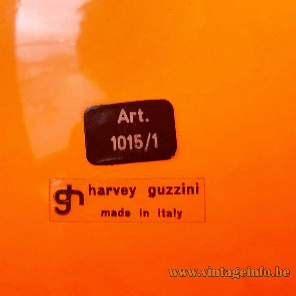 Harvey Guzzini Lucerna floor lamp 1966 design model Art. 1015/1 label 1960s 1970s Italy
