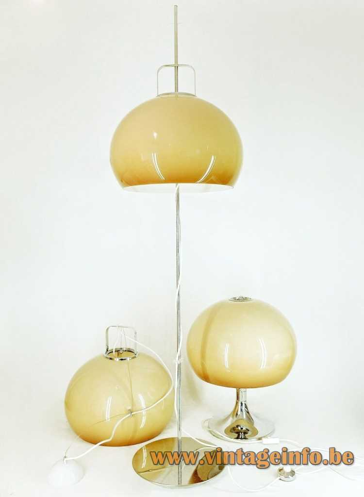 Harvey Guzzini Lucerna floor lamp, pendant lamp, table lamp - 1968 catalogue picture