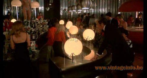 Several Harvey Guzzini Lucerna floor lamps used as a prop in Le Corps De Mon Ennemi (1976) film