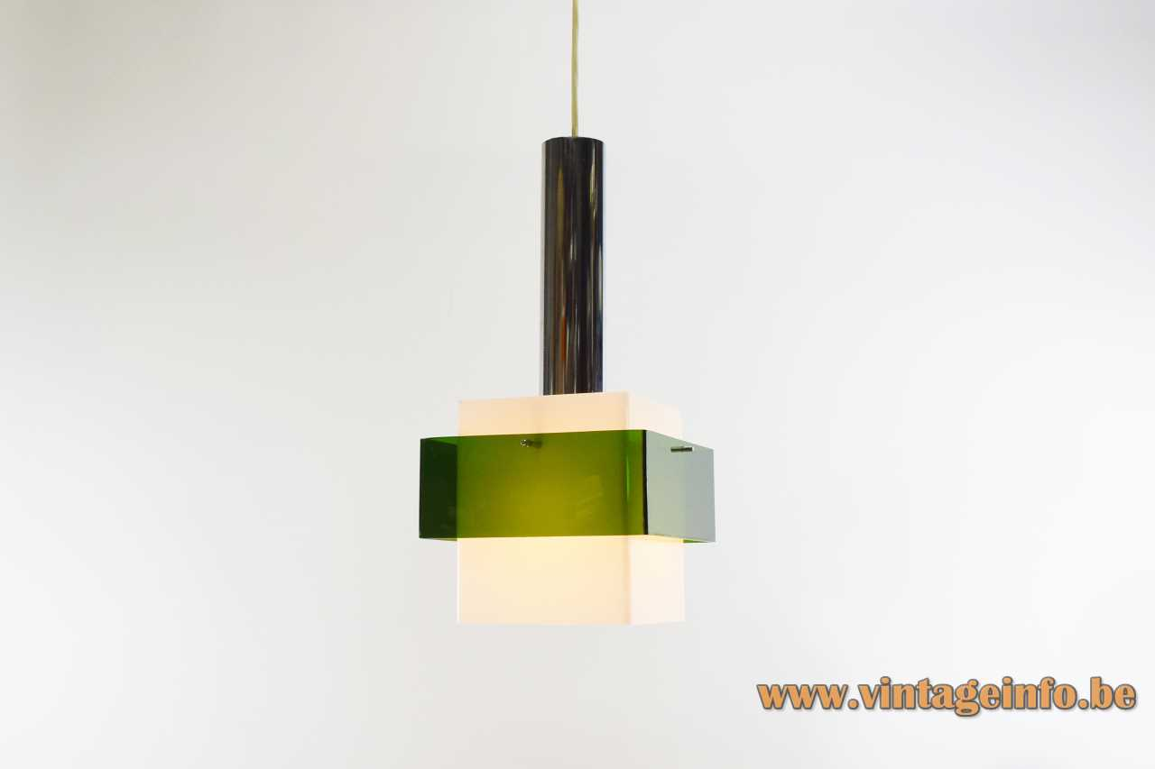 Harvey Guzzini Marconi pendant lamp design: Luigi Massoni chrome rod square white & clear green acrylic 1960s