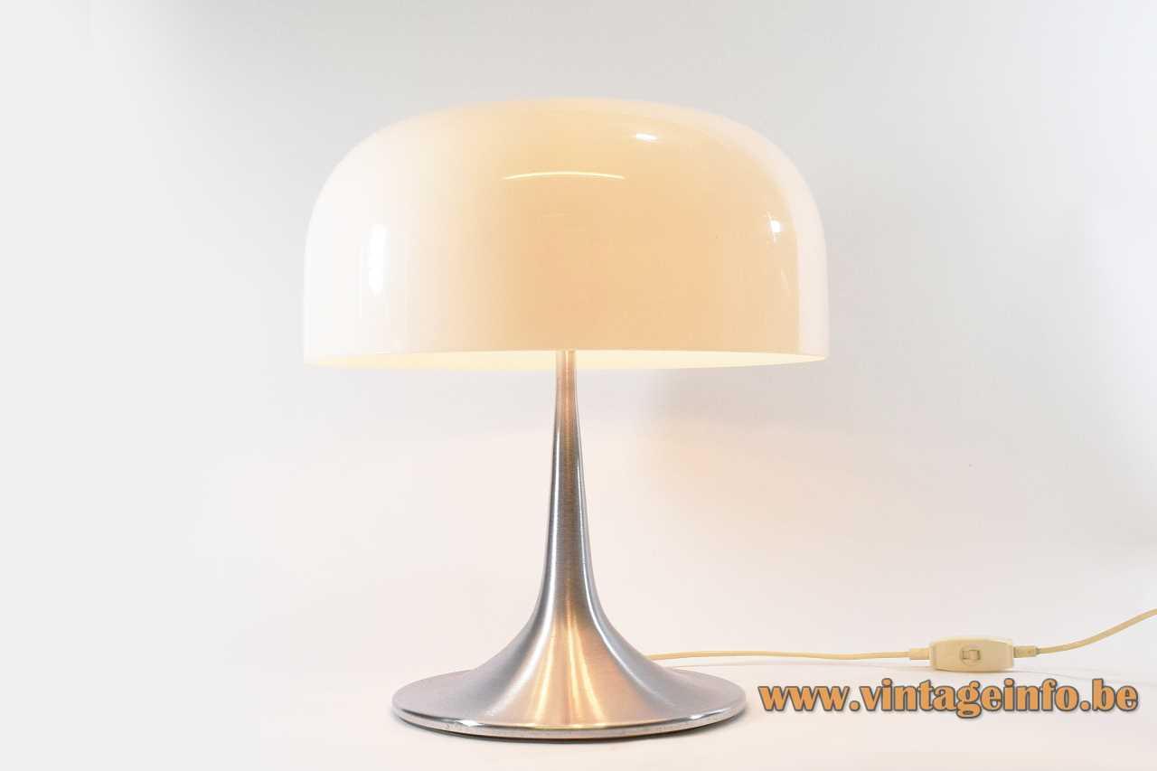 Harvey Guzzini Medusa table lamp design: Luigi Massoni brushed aluminium base white acrylic mushroom lampshade 1960s