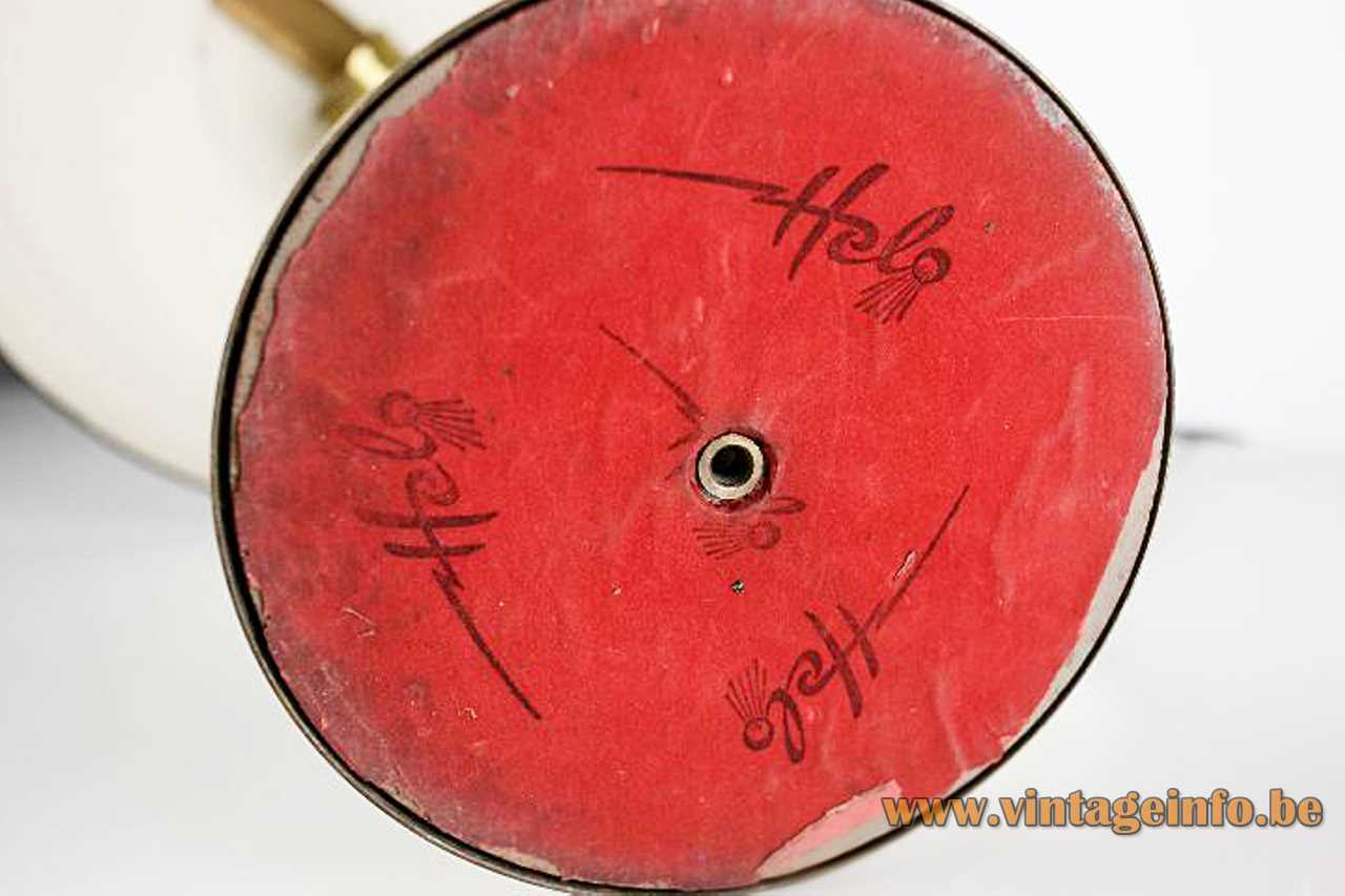 Helo Leuchten 1950s desk lamp round ringed brass base curved rod mushroom lampshade red felt logo