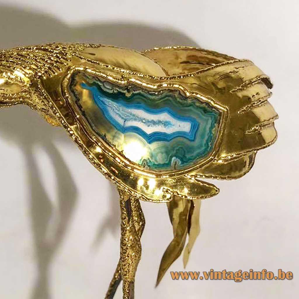 Henri Fernandez crane lamp table floor light brass bird marble base blue agate stone 1970s France