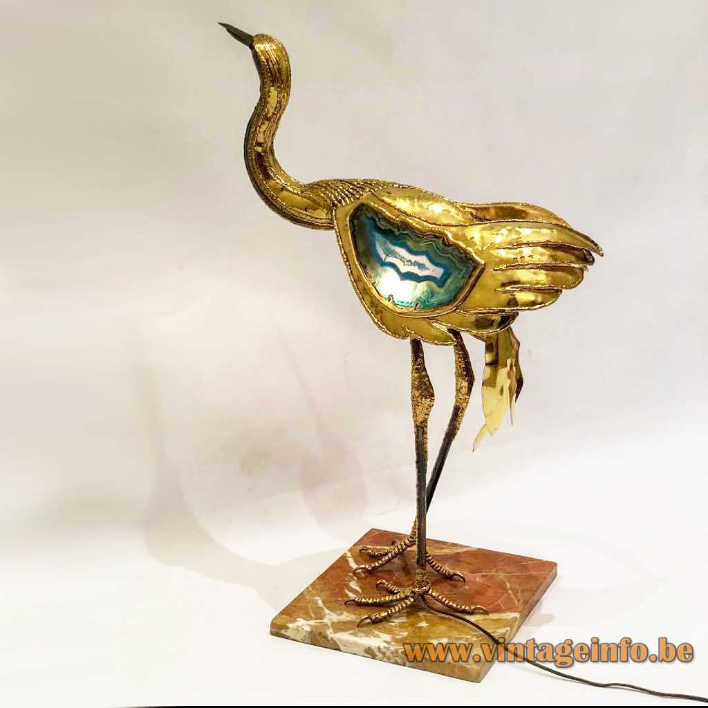 Big moulded and burned brass bird brown square marble base blue agate stone 2 E14 sockets