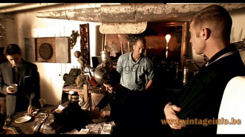 Henri Mathieu Spiral Kinetics table lamp used as a prop in the 1998 film Lock, Stock and Two Smoking Barrels