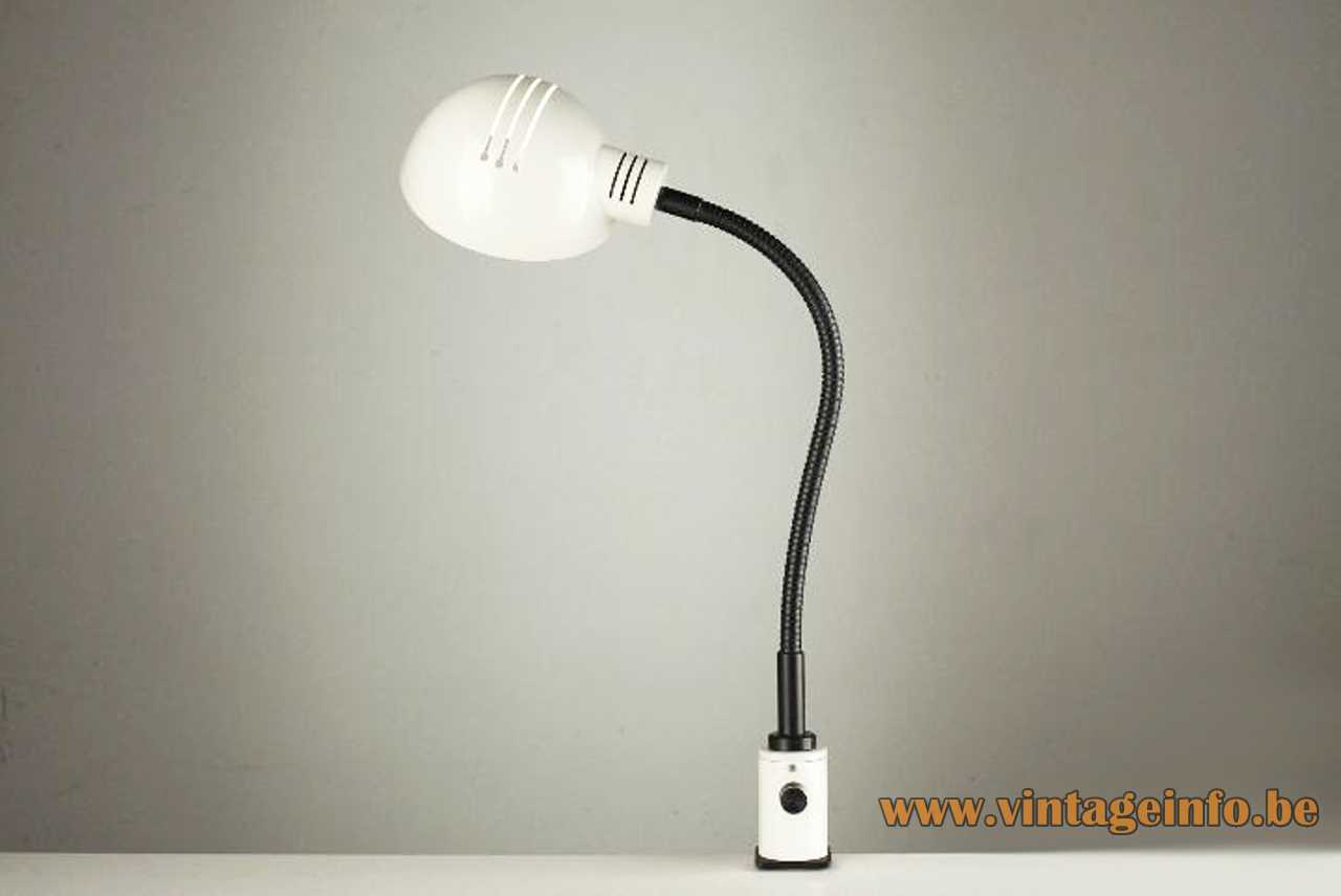 White painted clamp lamp with a black gooseneck dimmer and perforated lampshade E27 lamp socket