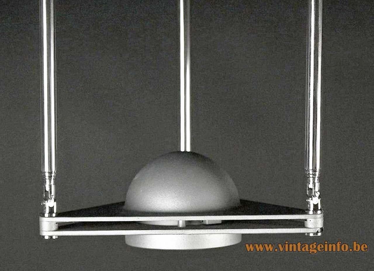 Lucitalia Kandido flush mount 1983 design: Ferdinand Porsche triangular base & lampshade 3 chrome telescopic antennas Italy