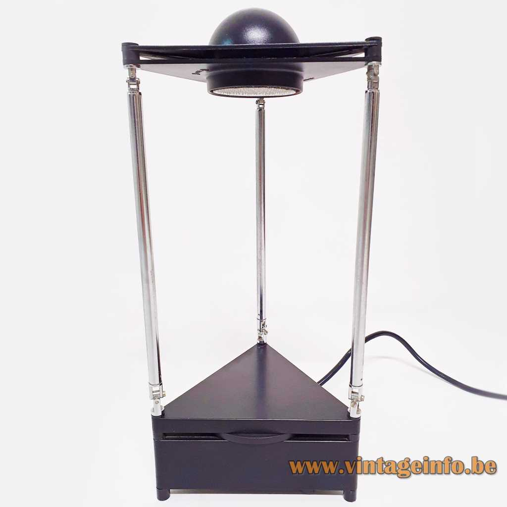 Lucitalia Kandido table lamp triangular base and lampshade 3 chrome telescopic antennas halogen bulb