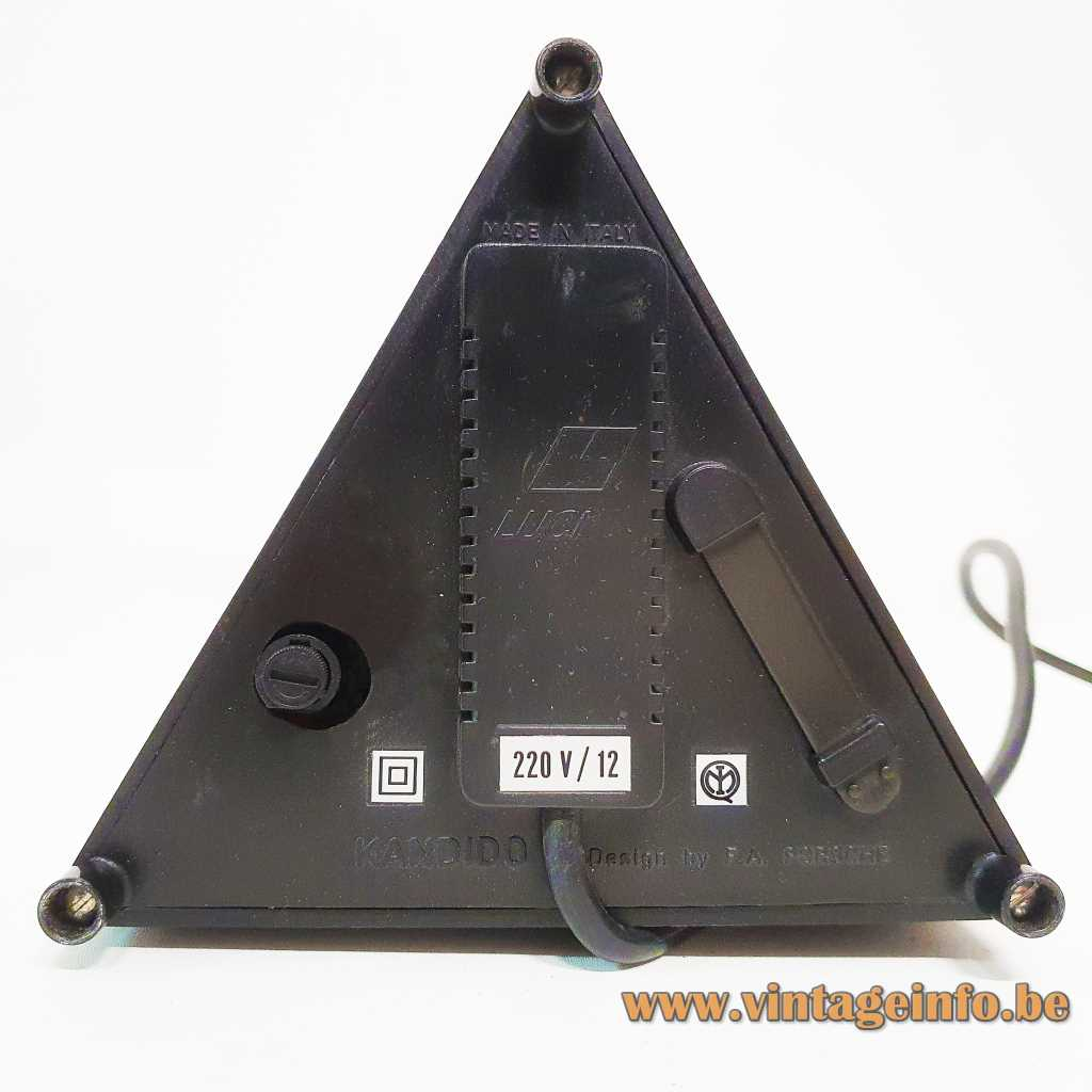 Lucitalia Kandido table lamp triangular base and lampshade 3 chrome telescopic antennas halogen bulb label