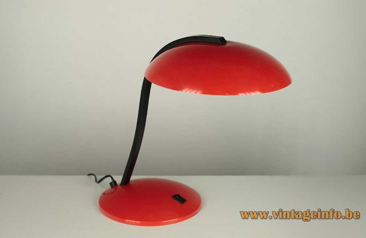 Nuova Veneta Lumi desk lamp round metal base curved black flat rod red mushroom lampshade 1970s 1980s