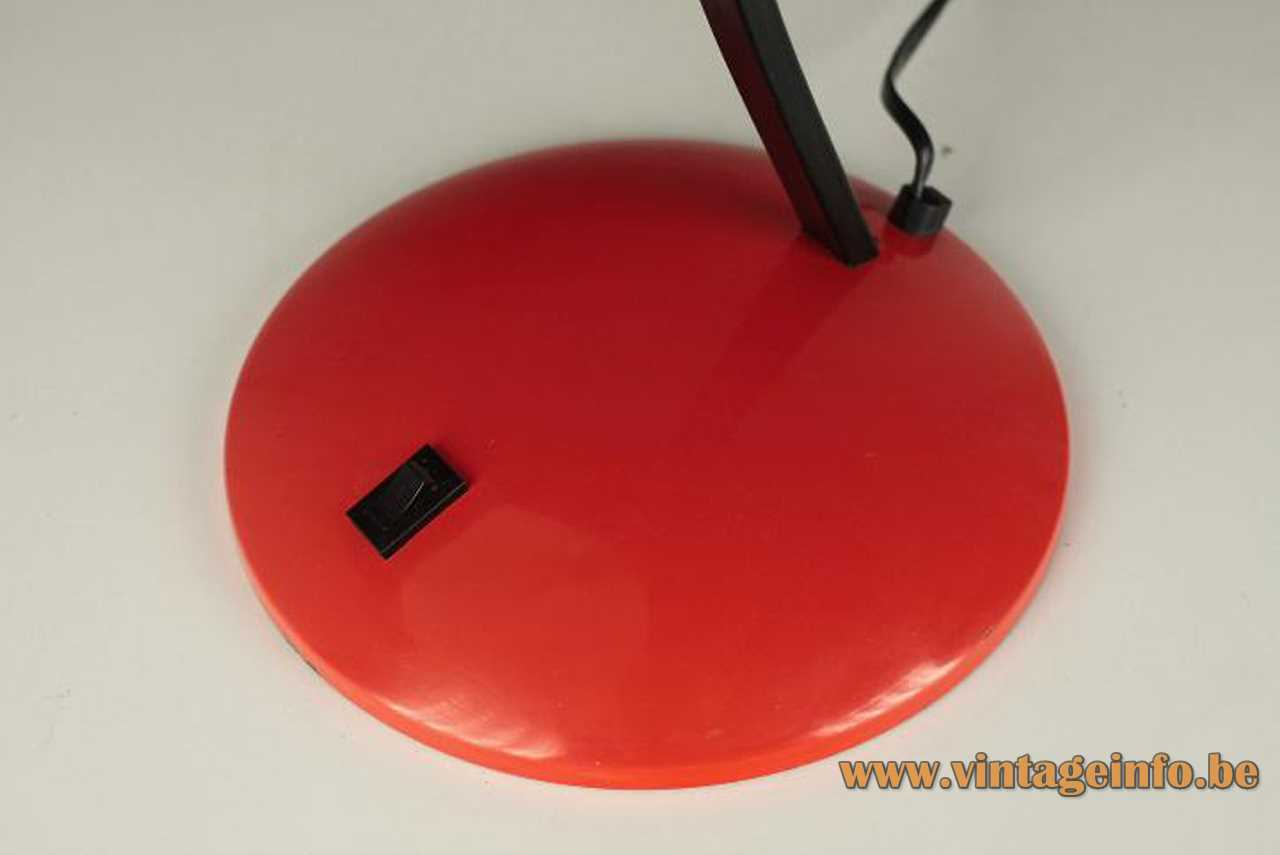 Nuova Veneta Lumi desk lamp round red metal base built-in black rectangular switch 1970s 1980s