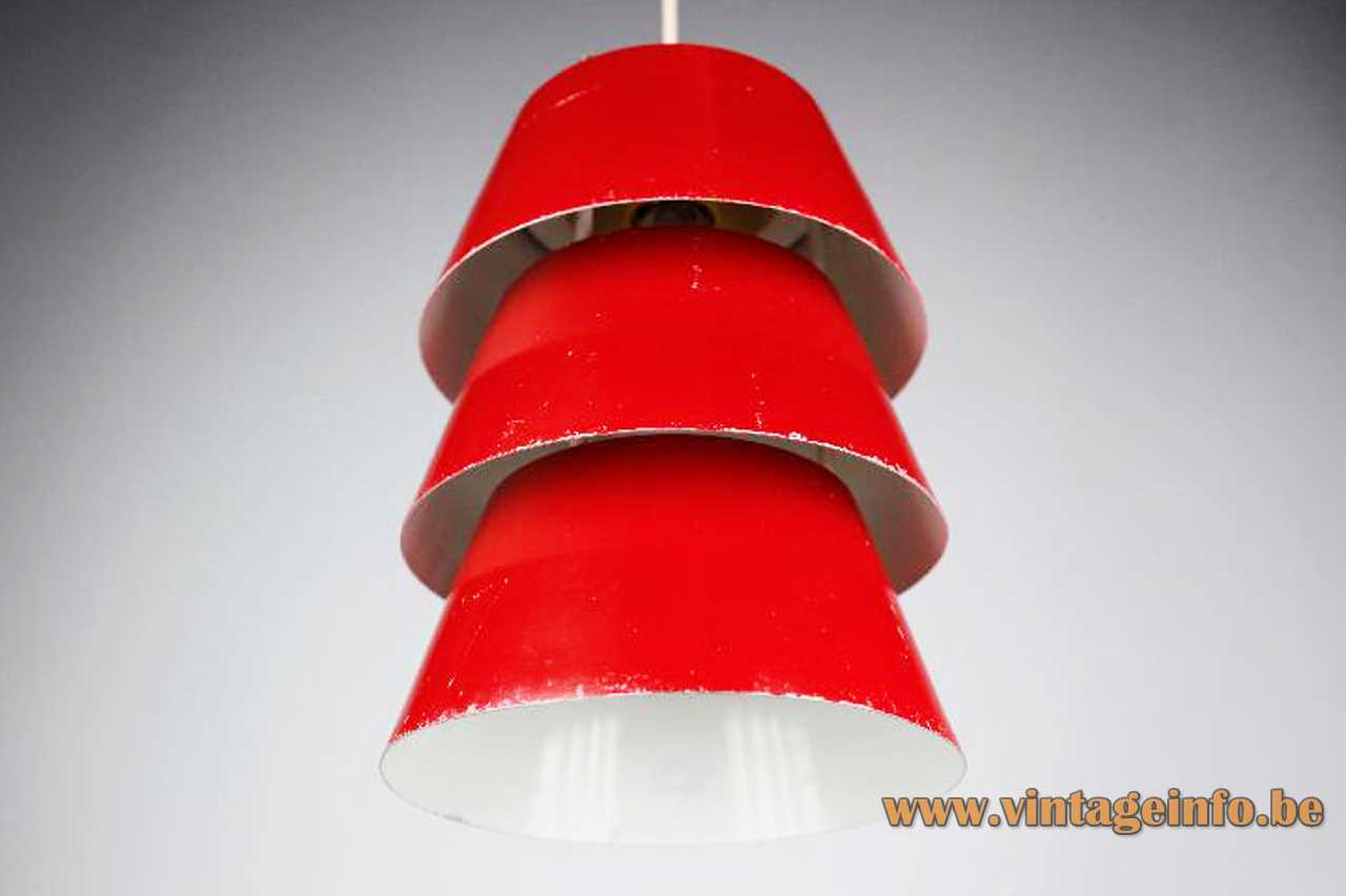Philips 1970s pendant lamp 3 round red conical stacked aluminium lampshades E27 socket IKEA Duett