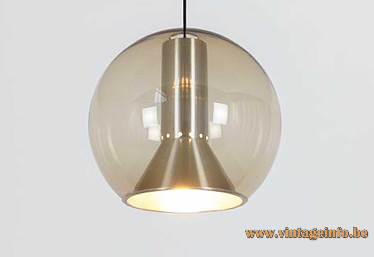 Raak globe pendant lamp design: Frank Ligtelijn smoked glass sphere concical brushed aluminiun diffuser 1950s 1960s