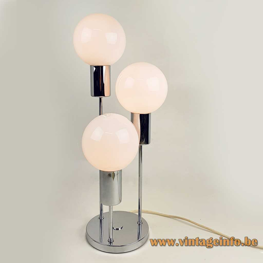 Solken-Leuchten opal globes table lamp chrome round base 3 white glass lampshades E14 sockets