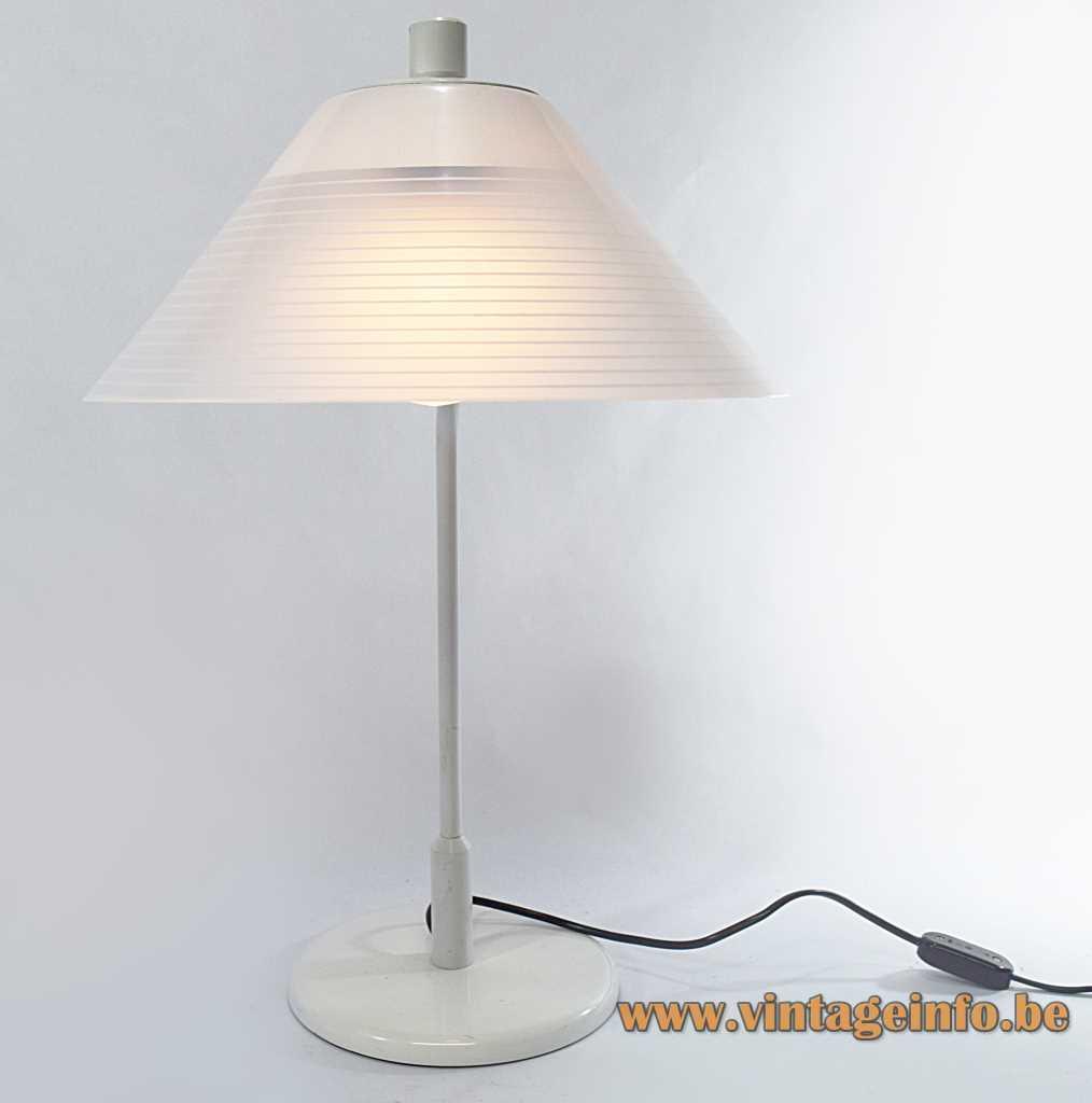 1970s Tramo desk lamp white metal conical acrylic Perspex striped lampshade design: Joan Antoni Blanc, Spain