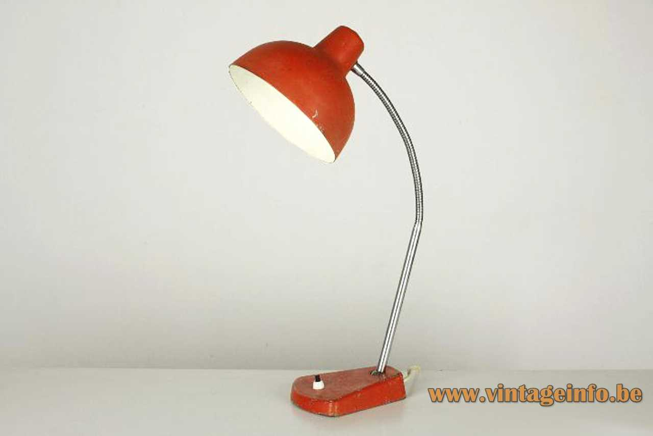 Aluminor metal desk lamp red iron base aluminium lampshade chrome rod & goose-neck 1960s 1970s France