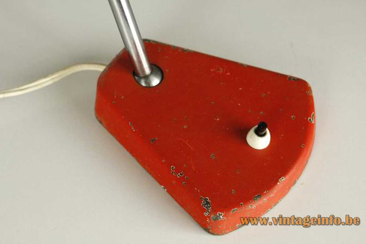 Aluminor metal desk lamp red iron base built-in switch chrome rod 1960s 1970s France