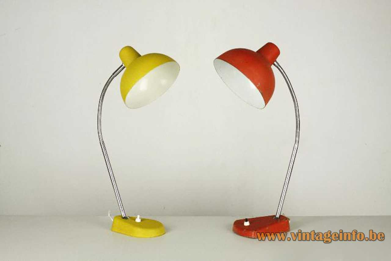 Aluminor metal desk lamp red and yellow version chrome rod & goose-neck 1960s 1970s France